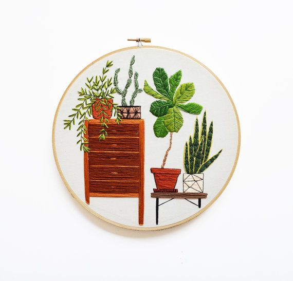 9 inch Hand Stitched Fig and Snake Plant Modern Embroidery Hoop Art