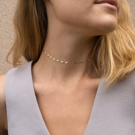 Chain Lace Choker Necklace, Gold or Silver Dainty Choker / The LACE CHAIN by Layered and Long
