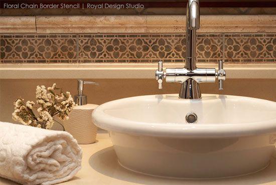 Border stencils from Royal Design Studio create faux tile effect  | Royal Design Studio