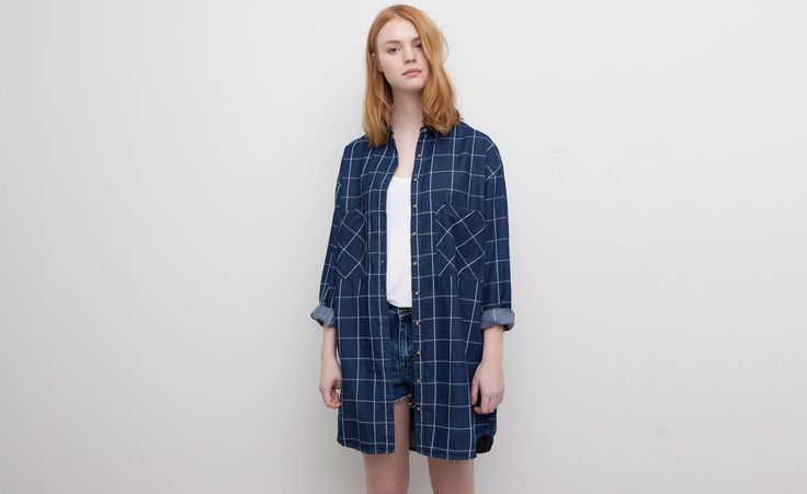 Pull&Bear - woman - dresses - check print shirt-style dress - blue - 05392322-V2015