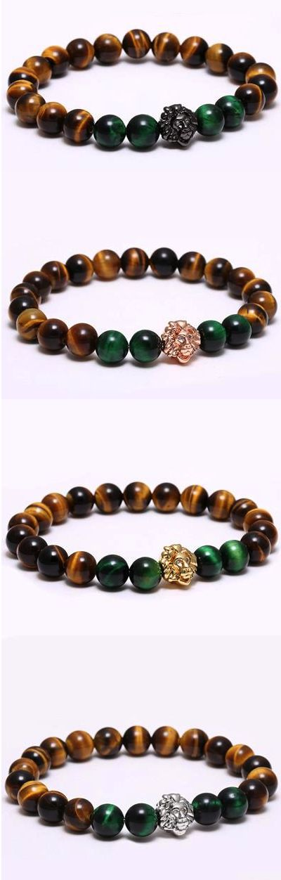 Lion Head Natural Stone Beaded Bracelet [4Variations]. This amazing lion head bracelets coming in 4 different charm colors.