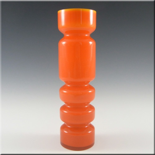 Ryd 1970's Scandinavian Orange Cased Glass Hooped Vase