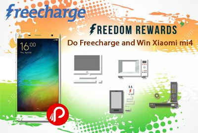 Do Freecharge and Win Xiaomi mi4 – Freecharge . Freedom Rewards – Transact for Minimum Rs. 50 on FreeCharge and use the following Promocodes to get Rewards from Snapdeal on Mobiles & Tablets, Computers & Peripherals, Appliances, Cameras & TV Multiple Promocode: Use Coupon Codes : Rs.250 off on Rs.4000 Coupon code-: FCIND1 500 off on 10000 Coupon code-: FCIND2. 1000 off on 20000 Coupon code : FCIND3. #paisebachao #Freecharge…