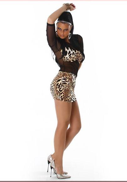 Leopar Transparan Dansçı Abiye Vücudu Saran Derin Dekolteli Seksi Mini Elbise