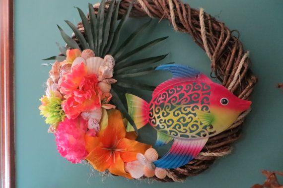 Beach decor Wreath_Tropical Fish Beach by CarmelasCoastalCraft