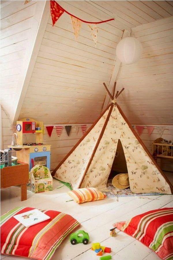 Índios e Cowboys: Ideias para transformar um sotão num quarto de criança.