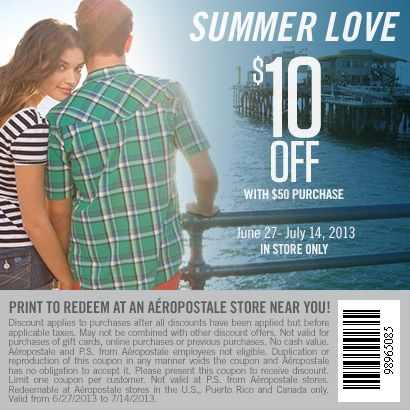 Shop at Aeropostale and get $10 OFF with $50 purchase.