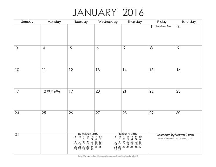 templates by vertex42 com - download a free printable ink saver 2016 calendar from