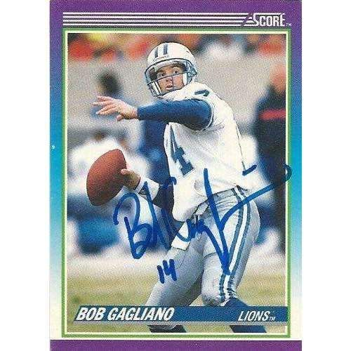 1990, Bill Gagliano, Detroit Lions, Signed, Autographed, Score Football Card, Card # 214, a COA Will Be Included