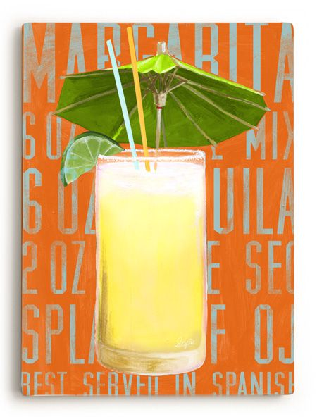 Cocktails - Margarita Vintage Beach Sign: Beach Decor, Coastal Decor, Nautical Decor, Tropical Decor, Luxury Beach Cottage Decor