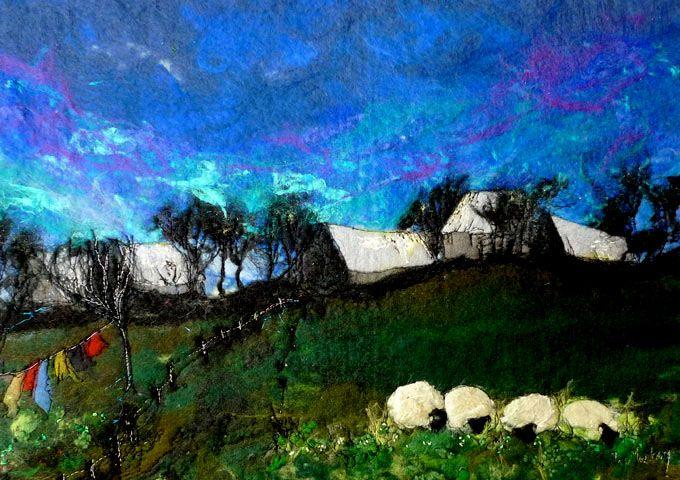 Moy Mackay_Farm Grazing_Felted Merino_15x21.5   Scottish Contemporary Art