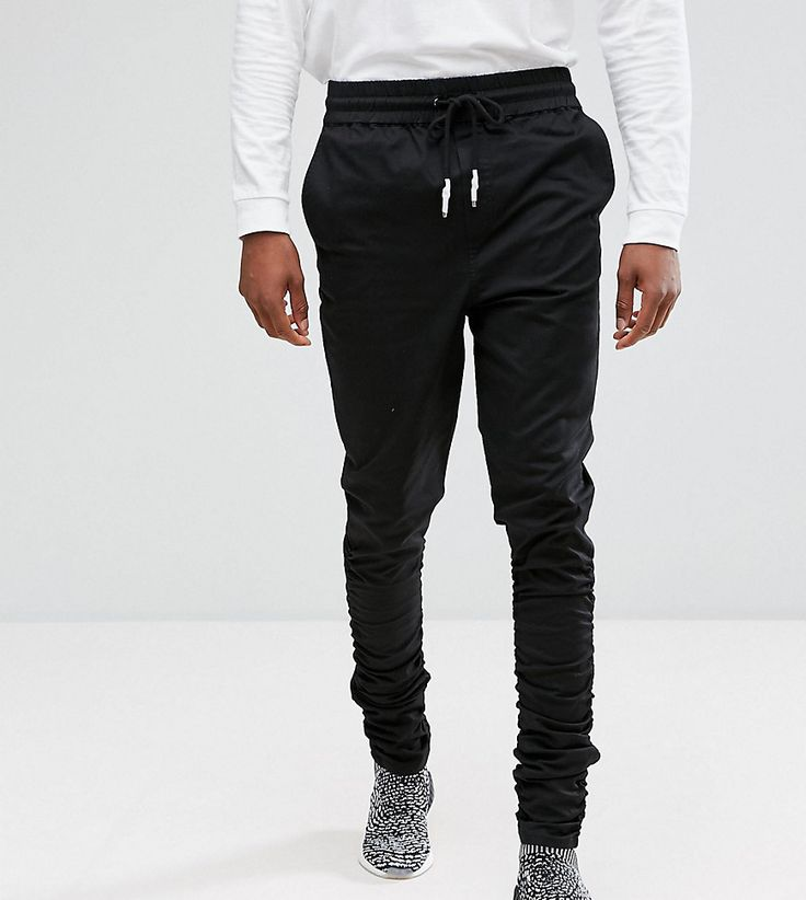 Get this Asos's joggers now! Click for more details. Worldwide shipping.  ASOS TALL Slim Joggers In Black With Ruched Detail - Black: Joggers by ASOS  TALL, ...