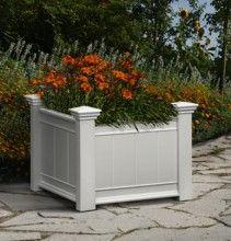 Barcelona White Vinyl Garden Planter Box   Outdoor Garden Planters U0026  Potting Benches   Eden   Home And Patio Decor Center