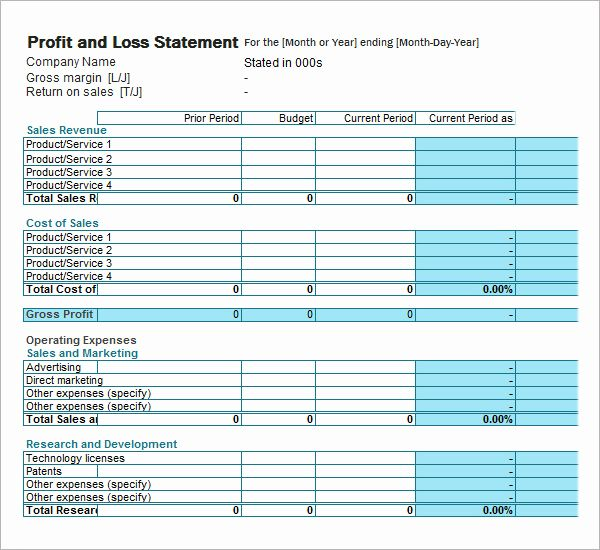Create Profit And Loss Statement In Excel Profit And Loss Statement Statement Template Income Statement