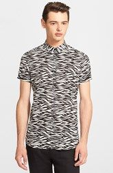 The Kooples Slim Fit Tiger Print Short Sleeve Sport Shirt