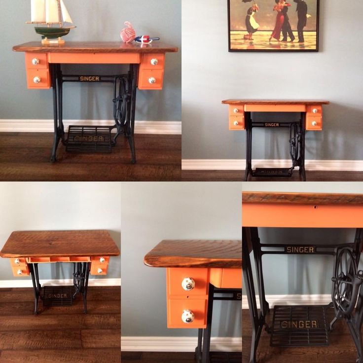 Singer sewing machine repurposed barn board top added finished in Tuscan Orange Fusion Mineral Paint