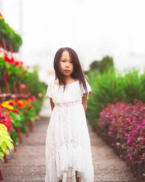 cabca6277 boho white lace flower girl high low dress - Belle & Kai Boho Flower Girl  Dress