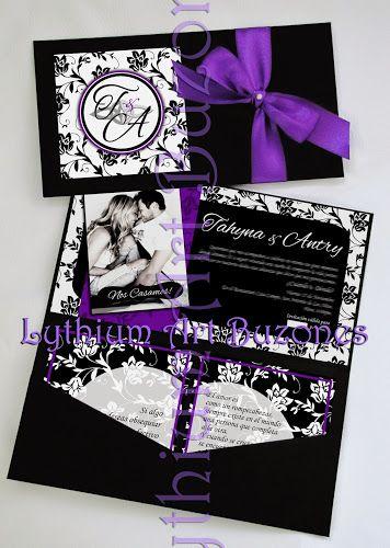 #InvitacionesdeBoda Modelo Large Morado & Negro | Lythium Art® Design by: Yil Siritt