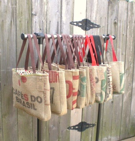 Awesome Bridesmaids gift from the Bride; recycled totes made from burlap coffee bean bags.
