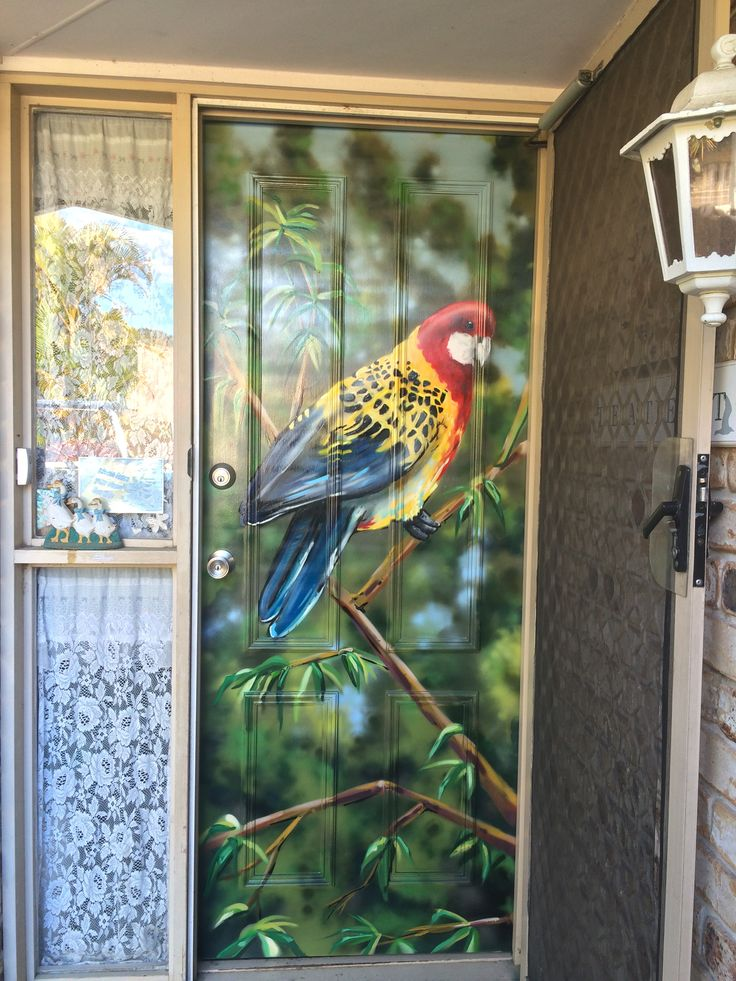 Keeping up with the Joneses? I bet they don't have a native bird on the front door.  #aerosolart #interiordesign #mural