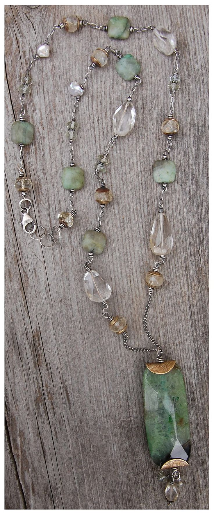 new necklace with large, faceted fluorite bead as pendant....with wire wrapped citrine, quartz, small fluorite beads, prehnite, handmade beadcaps, sterling silver wire and chain