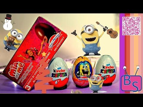 XMas Youtube Video: unboxing Kinder Chocolate eggs with Surprises of Mia&Me, Spongibob & Minions. - YouTube