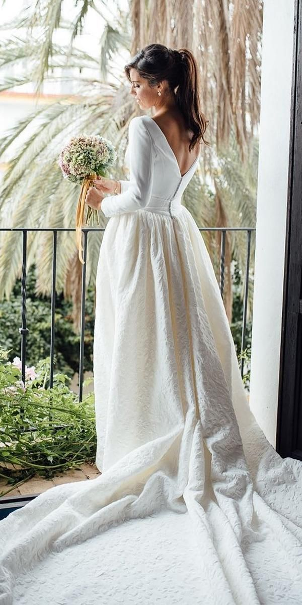 d5ee8c8496eb 24 Gorgeous Spring Wedding Dresses ❤ spring wedding dresses simple v back  with sleeves train kiwo estudio  weddingforward  wedding  bride