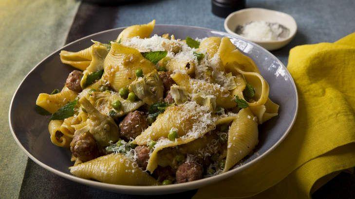 Conchiglie pasta with pork polpette and artichokes.