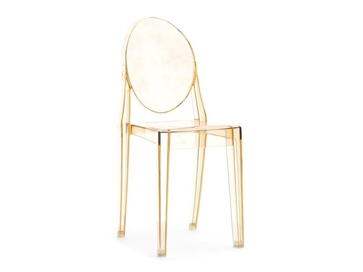 Polycarbonate chair by Phillipe Starck in crystal clear, heavy white, heavy black, transparent fume, heavy red, transparent green, transparent amber and transparent mauve color.