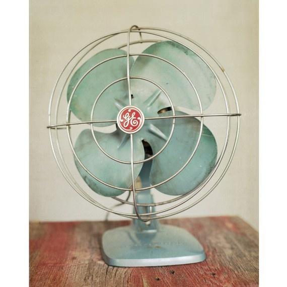 Vintage GE Electric Fan, eau de nil green patina  Repinned by www.silver-and-grey.com