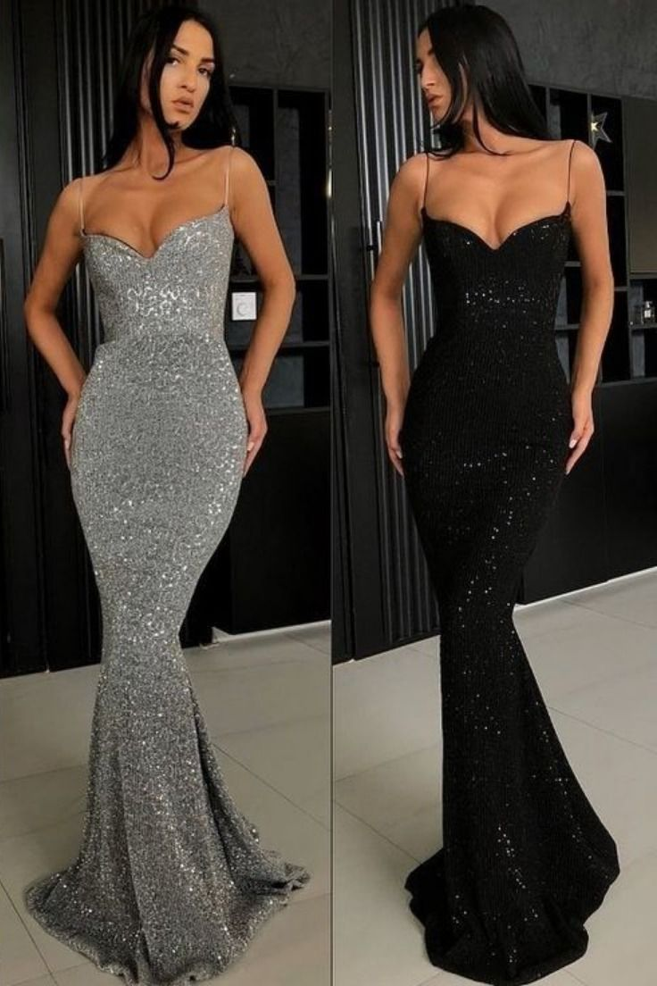 Sheath Spaghetti Straps Open Back Sequins Black Long Prom Dress Trendy Prom Dresses Tight Prom Dresses Prom Dresses Long Black [ 1104 x 736 Pixel ]