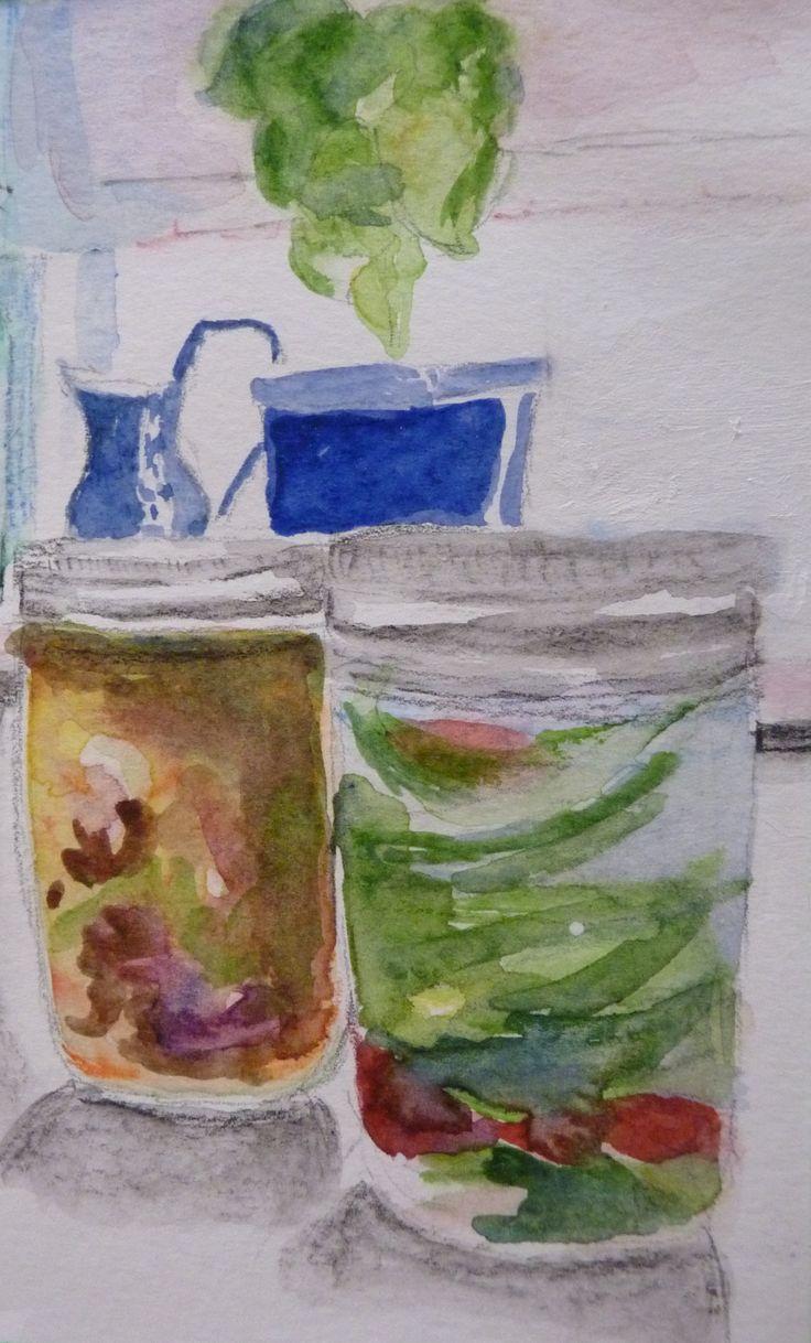 Homemade sauerkraut and pickles.