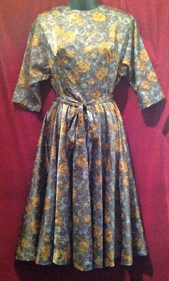 8373212e3bc01 1950s Ladies Belted Dress / 50s Full Circle Skirt Dress | Fifties ...