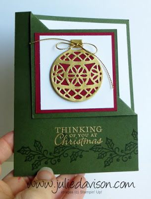 Video Tutorial for Corner Flip Card + Stampin' Up! Embellished Ornaments + Delicate Ornaments Framelits with Gold Foil #christmas #stampinup Holiday Catalog www.juliedavison.com