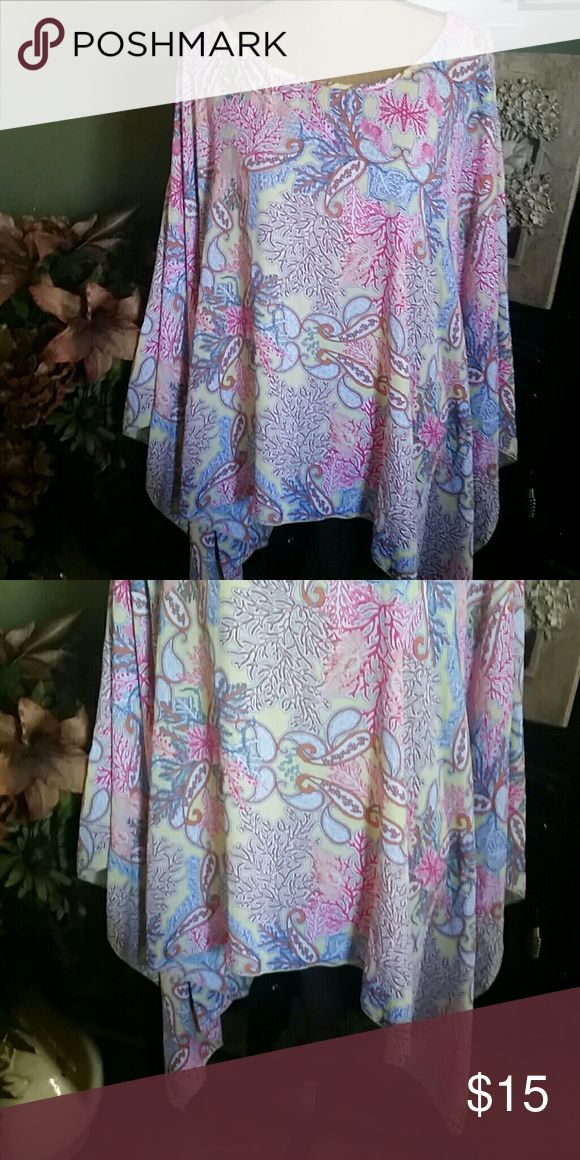 Women's plus size This is a gorgeous top with shark bite hem and batwing sleeves in design of many colors.  Yellow, pink, orange and blue Cato Tops