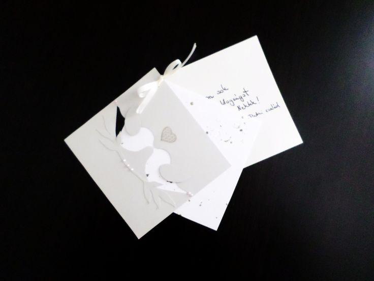 Kézzel készített egyedi esküvői ajándékkártya_madaras_2017/ wedding, card, gift, love, heart, bird, couple, pink, pearl, romantice, madár, pár, kártya, esküvő, romantikus
