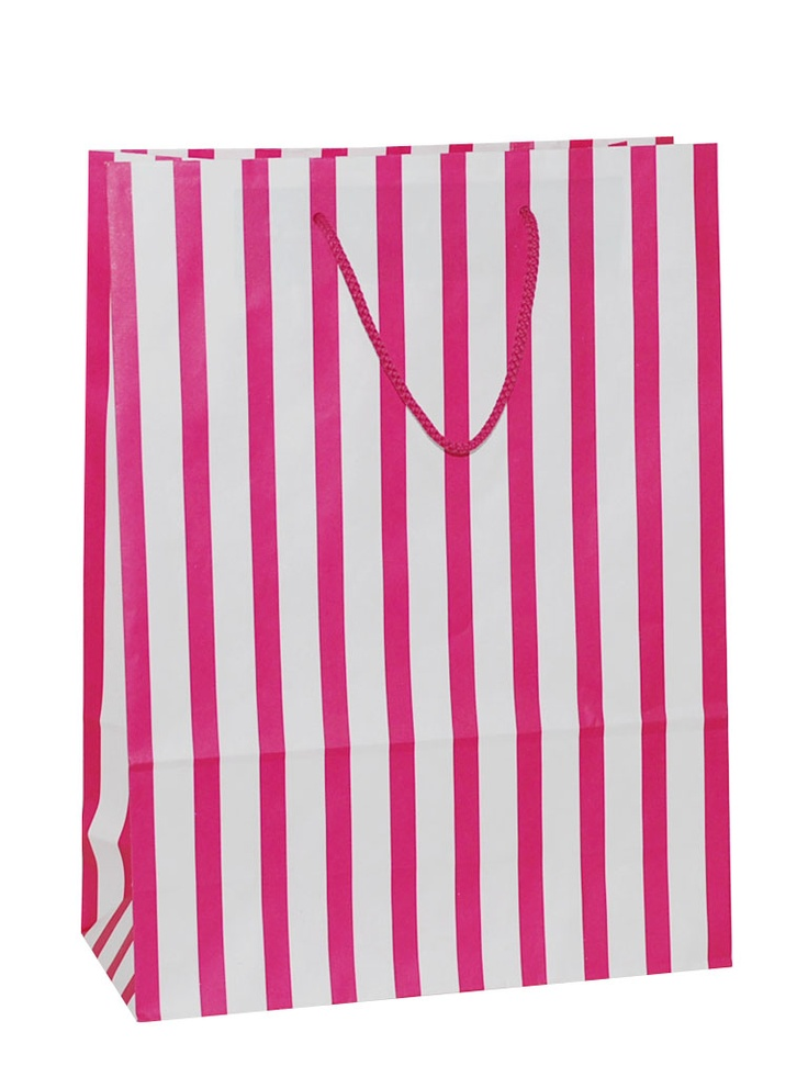 White Carrier Bag Rope Handle - Stripes Hot Pink