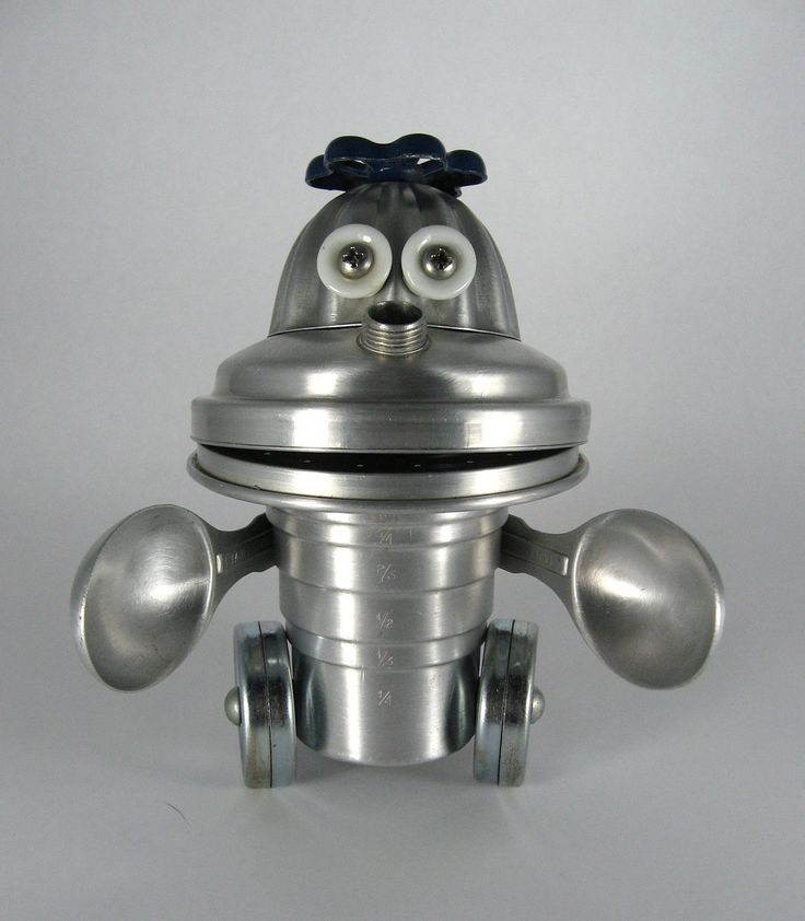 https://flic.kr/p/61SNC7 | Chester - Robot Assemblage Sculpture by Brian Marshall | Robot sculpture assembled from found objects by Brian Marshall - Wilmington, DE. Items included in my sculptures vary from vintage household kitchen items to recycled industrial scrap. Some of my favorite items to use are old oil cans, aluminum measuring spoons, electrical meters, retro blenders, anodized cups, and pencil sharpeners.