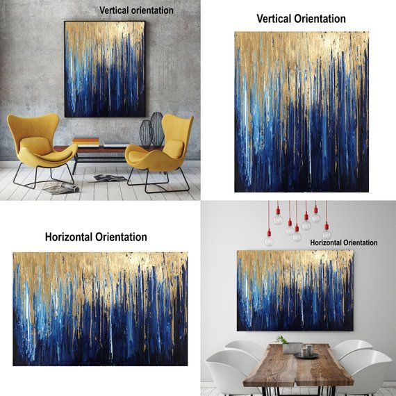 Gold Navy Blue Art Gold Leaf Art Original Abstract Art Navy Gold Abstract Textured Art Modern Can Modern Canvas Painting Abstract Art Diy Abstract Art Tutorial