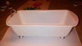 diy bathtub for barbie house.  made out of bread pan.