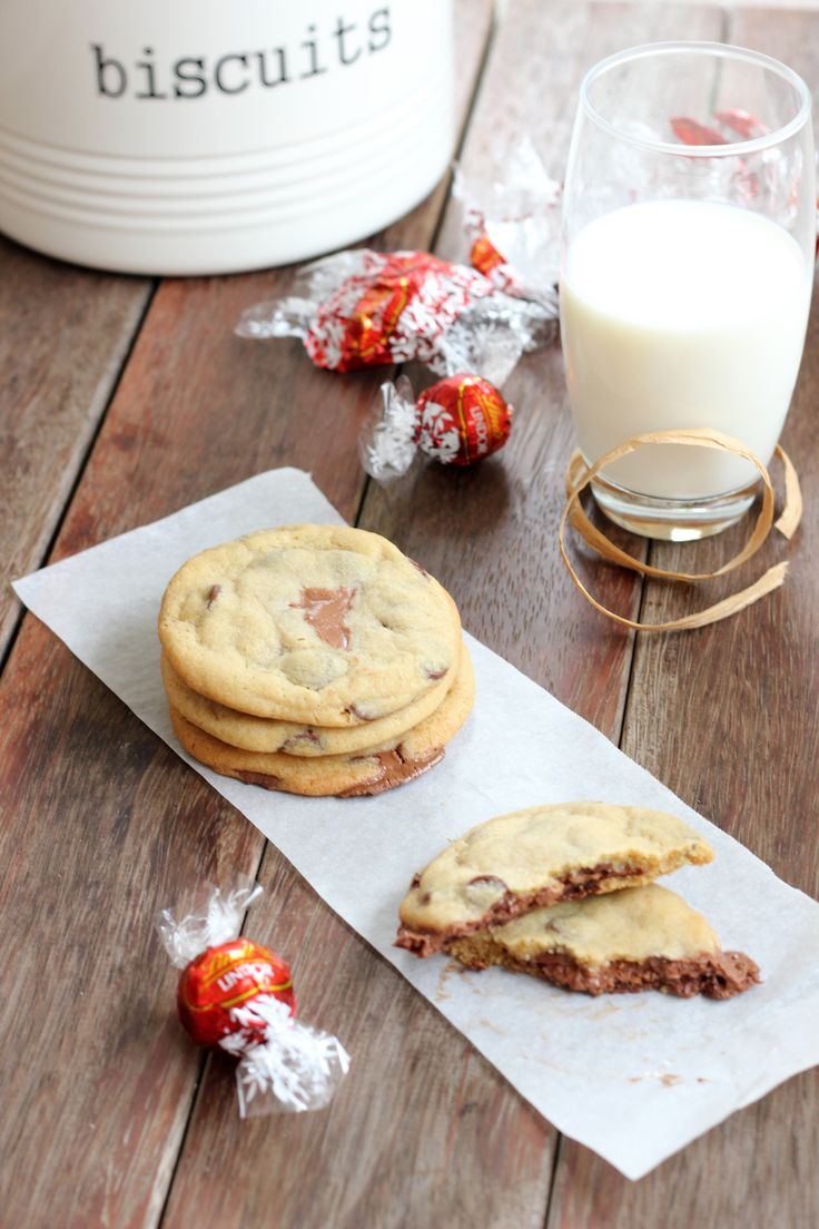 Have to try these! In fact I might try them with the coconut lindor and Marzipan lindor chocolates available here at the lindt factory. Yay Switzerland! Link to the recipe-http://www.butterbaking.com/2012/01/21/lindor-filled-chocolate-chip-cookies/
