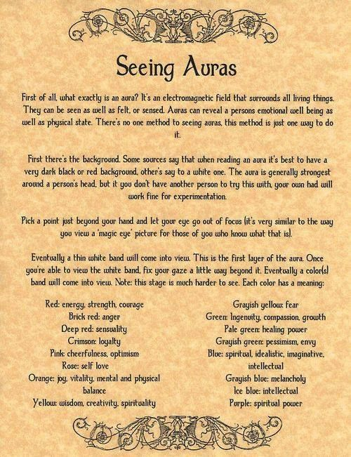 How to See Auras, Book of Shadows Pages, BOS Pages, Real Psychic Powers