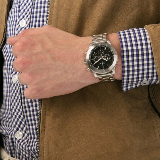 Fossil CH2814 Keaton Stainless Steel Black Dial | Boutique Brasov