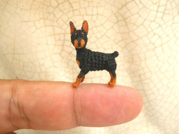 Doberman - Tiny Crochet Miniature Dog Stuffed Animals - Made To Order
