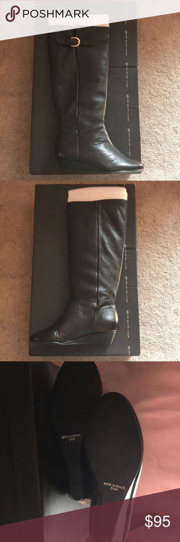Steve Madden Black Leather Intyce Boots NEVER WORN! Beautiful soft interior with small heal and buckle detail on top Steve Madden Shoes Heeled Boots