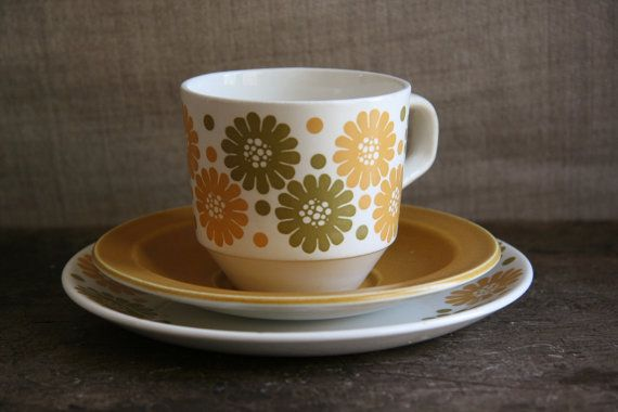 Kelston Potteries Daisy Cream Mustard Yellow and Pea by FoundByHer, $10.00