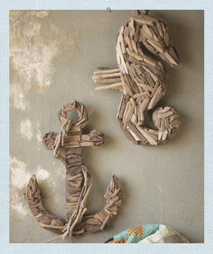 Driftwood Seahorse. Driftwood Anchor. Create a natural beachfront ambiance with our Driftwood Seahorse and Driftwood Anchor wall art. Intricately formed Seahorse and Anchor shapes are created from natural found driftwood in various sizes and shapes. Each will be unique by nature.