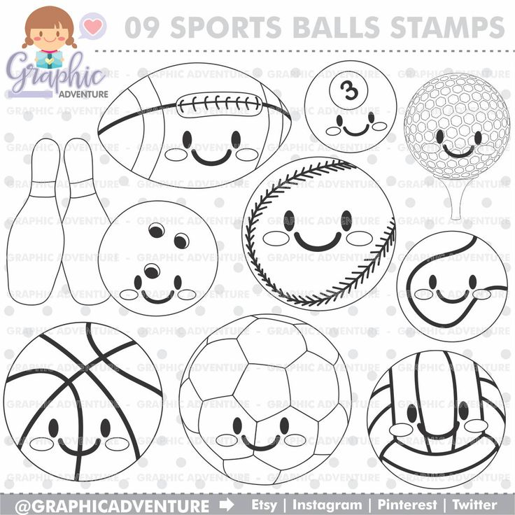 75%OFF - Sport Stamp, COMMERCIAL USE, Digi Stamp, Digital Image, Party Digistamp, Sport Coloring Page, Sports Clipart, Sport Graphics