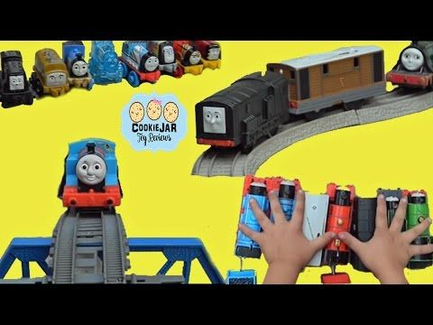 FUN Playing with Thomas and Friends toy trains and tracks MINIS . CookieJAR toy reviews - YouTube