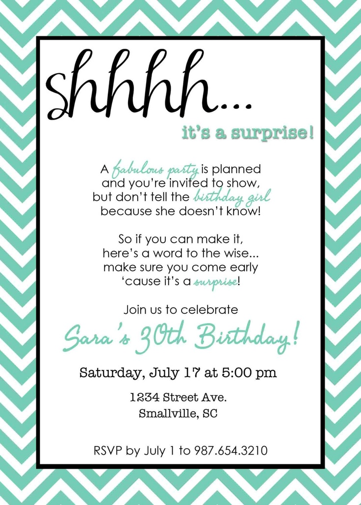 PRINTABLE Chevron Surprise Party Invitation